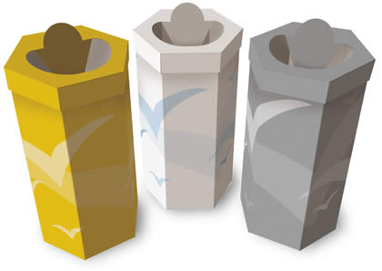 Hexagonal pre-sorted waste collection containers 90 liters