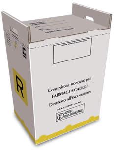 contenitore 60 litri per farmaci scaduti in cartone