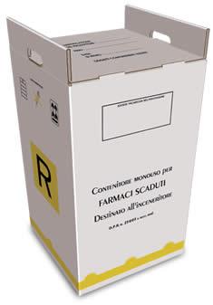 contenitore 80 litri per farmaci scaduti in cartone