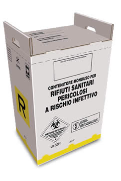 cardboard container for hazardous medical waste from 60 liters