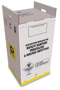 cardboard container for hazardous medical waste from 80 liters