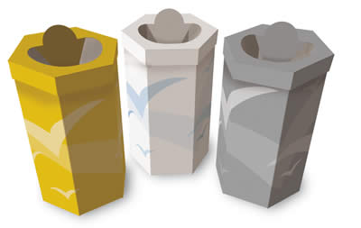 Hexagonal pre-sorted waste collection containers 60 liters
