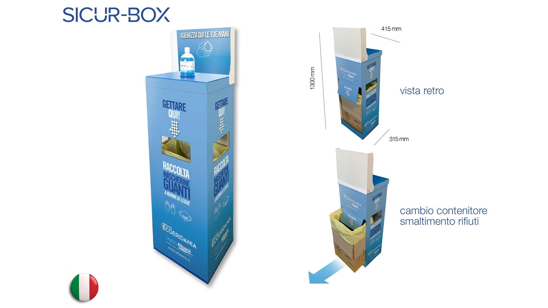 contenitore sicurbox per smaltimento guanti e mascherine corona virus